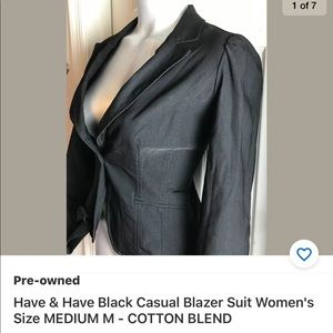 Have & Have Black Casual Blazer Suit Women's Sz M